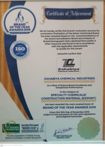 Award in the category of Specialty Chemicals/Construction Material(EXPORT)